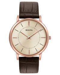 Bulova   Metallic Men's Dress Brown Leather Strap Watch 40mm 97a126 for Men   Lyst