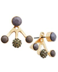 INC International Concepts | Metallic Gold-tone Gray Bead And Black Crystal Earring Jackets, Only At Macy's | Lyst