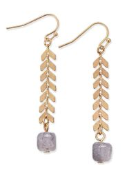 INC International Concepts | Metallic Gray Beaded Leaf Linear Earring, Only At Macy's | Lyst