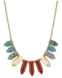 INC International Concepts | Metallic Gold-tone Multicolor Pointed Stone Bib Necklace | Lyst