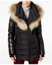 Rudsak | Black Roya Asiatic Raccoon-fur-trim Asymmetrical Down Coat | Lyst
