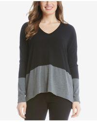 Karen Kane | Black V-neck Color Block Sweater | Lyst