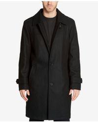 Kenneth Cole - Black Men's Epaulette Overcoat for Men - Lyst