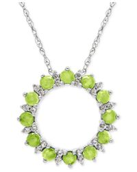 Macy's | Green Peridot (7/8 Ct. T.w.) And White Topaz (1/5 Ct. T.w.) Circle Pendant Necklace In Sterling Silver | Lyst