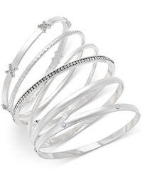 INC International Concepts - Metallic Silver-tone 5-pc. Crystal-detail Bangle Bracelet Set, Only At Macy's - Lyst