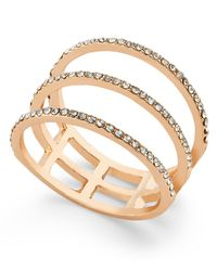 INC International Concepts | Metallic Rose Gold-tone Three-row Pavé Ring | Lyst