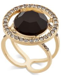 INC International Concepts | Metallic Gold-tone Black Stone And Crystal Halo Ring, Only At Macy's | Lyst