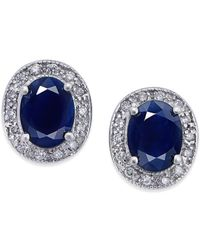Macy's - Sapphire (3 Ct. T.w.) And Diamond (1/5 Ct. T.w.) Stud Earrings In 14k White Gold - Lyst