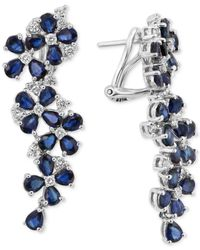 Effy Collection | Multicolor Royal Bleu By Effy Sapphire (9 Ct. T.w.) And Diamond (3/4 Ct. T.w.) Drop Earrings In 14k White Gold | Lyst