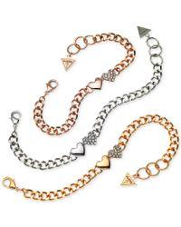 Guess - Multicolor Tri-tone 3-pc. Set Pave Heart Link Bracelets - Lyst