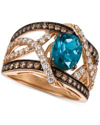 Le Vian | Multicolor Chocolatier London Blue Topaz (2 Ct. T.w.) And Diamond (9/10 Ct. T.w.) Statement Ring In 14k Rose Gold, Only At Macy's | Lyst