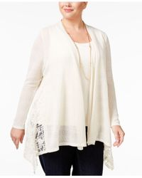 Style & Co. | Natural Plus Size Lace-trim Open-front Cardigan, Only At Macy's | Lyst