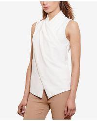 Lauren by Ralph Lauren - White Petite Jersey Surplice Top - Lyst