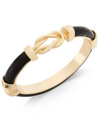 Charter Club | Metallic Gold-tone Jet Black Faux-leather Knot Hinged Bangle Bracelet, Only At Macy's | Lyst