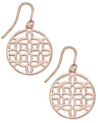 Charter Club | Metallic Rose Gold-tone Openwork Circle Drop Earrings, Only At Macy's | Lyst