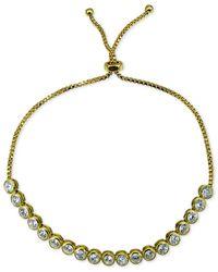 Giani Bernini | Metallic Cubic Zirconia Bezel Adjustable Slider Bracelet In 18k Gold-plated Sterling Silver, Only At Macy's | Lyst