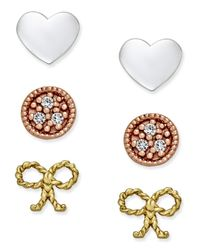 Giani Bernini | Multicolor Tri-tone 3-pc. Set Stud Earrings In Sterling Silver, Gold-plated Sterling Silver And Rose Gold-plated Sterling Silver | Lyst