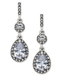 Charter Club - Metallic Silver-tone Cubic Zirconia Pear Drop Earrings, Only At Macy's - Lyst