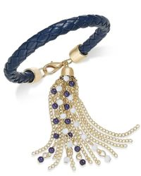 INC International Concepts - Blue Gold-tone White Corded Beaded Tassel Bracelet, Only At Macy's - Lyst