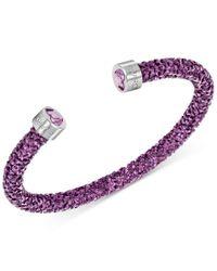 Swarovski   Purple Silver-tone Black Crystal And Crystaldust Open Cuff Bracelet   Lyst