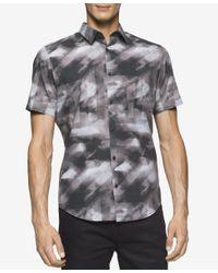 Calvin Klein | Gray Men's Short-sleeve Micro Square Shirt for Men | Lyst