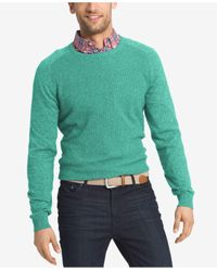 Izod | Green Men's Waffle-knit Crew-neck Sweater for Men | Lyst