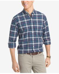Izod | Blue Men's Big And Tall Plaid Long-sleeve Shirt for Men | Lyst