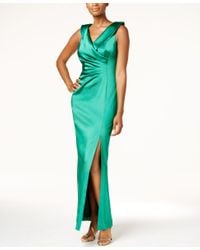 Tahari | Green Faux-wrap Column Gown | Lyst
