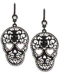 Betsey Johnson | Blackout Filigree Skull Drop Earrings | Lyst