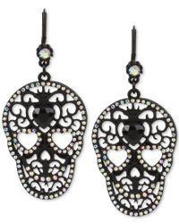Betsey Johnson - Blackout Filigree Skull Drop Earrings - Lyst