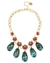 Betsey Johnson | Multicolor Gold-tone Pave Rose And Blue Crystal Statement Necklace | Lyst