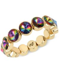 Betsey Johnson | Metallic Gold-tone Faceted Stone Stretch Bracelet | Lyst
