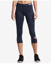 Nike - Blue Pro Dri-fit Capri Leggings - Lyst