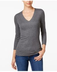 INC International Concepts | Gray Heathered Ribbed Top, Only At Macy's | Lyst
