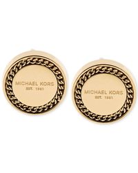 Michael Kors | Metallic Gold-tone Logo Plaque Button Stud Earrings | Lyst