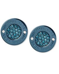 Michael Kors - Blue Ion-plated Pavé Disc Stud Earrings - Lyst