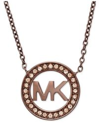 Michael Kors | Brown Ion-plated Pave Logo Pendant Necklace | Lyst
