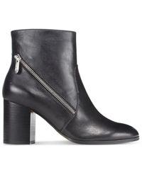 Adrienne Vittadini - Black Bob Side-zipper Block-heel Booties - Lyst