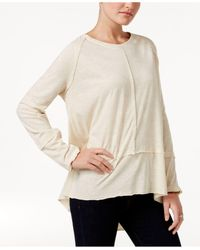 Style & Co. | Natural Raw-edge Scoop-neck Top, Only At Macy's | Lyst