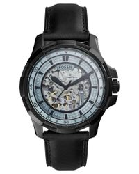 Fossil | Men's Automatic Dean Black Leather Strap Watch 45mm Me3130 for Men | Lyst