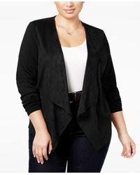 INC International Concepts | Black Plus Size Faux-suede Draped Cardigan, Only At Macy's | Lyst