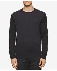 Calvin Klein | Black Men's Merino Multi-chevron Pattern Sweater for Men | Lyst