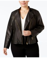 Calvin Klein | Black Plus Size Faux-leather Moto Jacket | Lyst