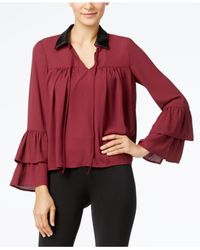Cable & Gauge | Red Faux-leather-collar Ruffled Blouse | Lyst