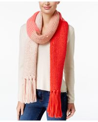 kate spade new york | Red Chunky Knit Colorblock Scarf | Lyst
