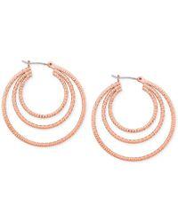 Guess | Metallic Silver-tone Triple Hoop Earrings | Lyst