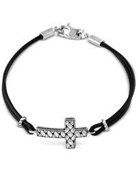 Effy Collection   Metallic Black Leather Cross Bracelet In Sterling Silver   Lyst