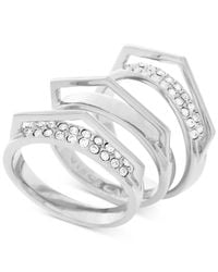 Vince Camuto | Metallic Silver-tone 3-pc. Set Stackable Pave V Rings | Lyst