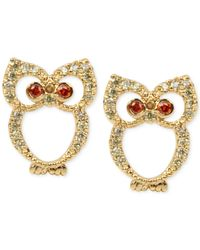 Betsey Johnson   Green Gold-tone Pave Owl Stud Earrings   Lyst