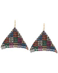 Betsey Johnson | Multicolor Two-tone Multi-crystal Mesh Drop Earrings | Lyst